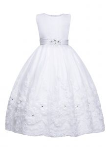 Amberry Little Girls White Rhinestone Sash 3D Skirt Flower Girl Dress 2T-6