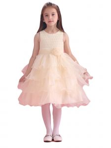 Amberry Girls Champagne Flower Sash Pearl Ruffled Special Occasion Dress 8-14