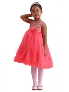 Amberry Girls Coral Sequin Bodice Overlaid Tulle Junior Bridesmaid Dress 8-14