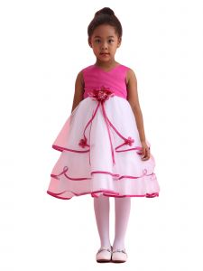 Amberry Girls Multi Color Pleated Bodice Triple Layered Junior Bridesmaid Dress 2T-14
