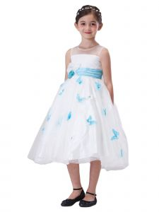 Amberry Little Girls Ivory Aqua Overlaid Butterflies Rose Flower Girl Dress 2T-6