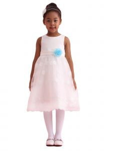 Amberry Little Girls Ivory Blue Lace Flower Special Occasion Dress 2T-6