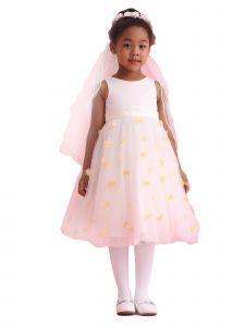 Amberry Girls Multi Color Organza 3D Flower Girl Dress 2T-14