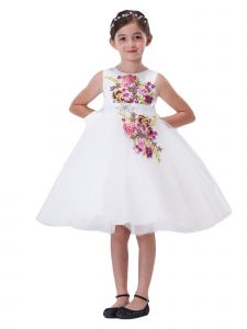 Amberry Little Girls Ivory Embroidered Rhinestone Belt Flower Girl Dress 2T-6