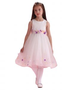 Amberry Little Girls Ivory Organza Flowers Sash Flower Girl Dress 2T-6