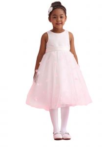 Amberry Little Girls Ivory Pink Organza 3D Flower Girl Dress 2T-6