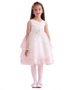 Amberry Little Girls Ivory Pleated Bodice Triple Layered Flower Girl Dress 2T-6
