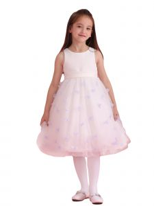 Amberry Girls Ivory Purple Organza 3D Flower Junior Bridesmaid Dress 8-14