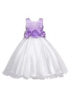 Amberry Girls Lilac 3D Flower Sash Tea Length Junior Bridesmaid Dress 8-14