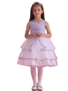 Amberry Little Girls Lilac Pleated Bodice Triple Layered Flower Girl Dress 2T-6