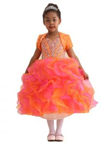 Amberry Girls Multi Color All Rhinestones Bodice Ruffled Flower Girl Dress 2T-14
