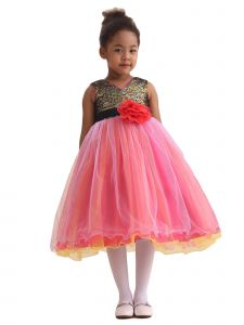 Amberry Girls Peach Sequin Bodice Flower Sash Christmas Dress 8-14