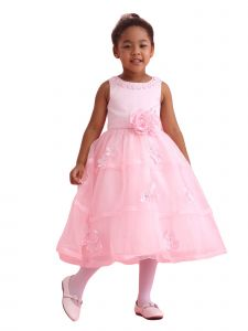 Amberry Girls Multi Color Floral Neckline Overlaid  Flower Girl Dress 2T-14