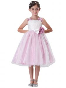 Amberry Girls Pink Overlaid Tulle Skirt Rose Sash Junior Bridesmaid Dress 8-14