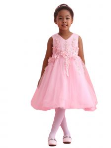 Amberry Girls Multi Color Pleated 3D Flower Applique Flower Girl Dress 2T-14
