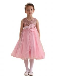 Amberry Girls Pink Sequin Bodice Overlaid Tulle Junior Bridesmaid Dress 8-14