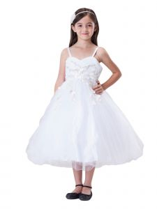 Amberry Little Girls White Flower Embroidery Applique Flower Girl Dress 2T-6