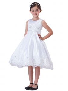Amberry Girls White Lace Rhinestones Embroidery Junior Bridesmaid Dress 8-14