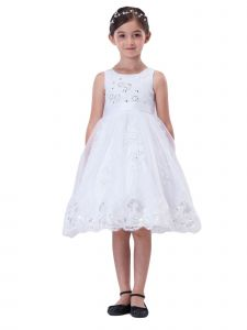 Amberry Little Girls White Lace Tulle Scalloped Hem Flower Girl Dress 2T-6