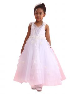 Amberry Girls Multi Color Multi Layer Ruffled Skirt Flower Girl Dress 2T-14