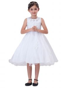 Amberry Little Girls White Rhinestone Wired Tulle Flower Girl Dress 2T-6