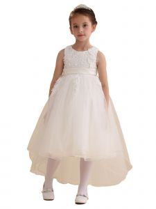 Amberry Little Girls White Hi-Low Flower Girl Dress 2T-6