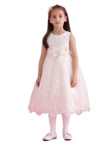 Amberry Girls White Textured Bodice Lace Applique Junior Bridesmaid Dress 8-14