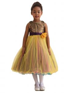 Amberry Girls Multi Color Sequin Bodice Flower Sash Christmas Dress 2T-14