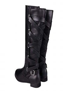 Ameta Women Black Lace Up Strappy Knee High Boots 6-11
