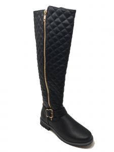 Ameta Women Black Quilted Honey Boots 9