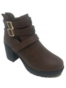 Ameta Women Brown Buckle-Strap Honey Bootie 55-10