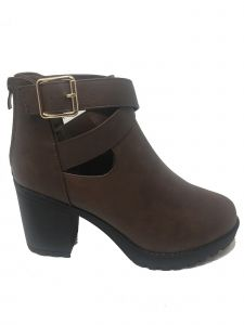 Ameta Women Brown Buckle-Wrap Honey Bootie 55-10