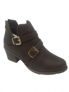 Ameta Women Brown Double-Buckle Ankle Bootie 55-10