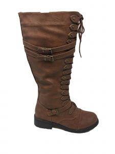 Ameta Women Brown Strappy Lace-Up Knee High Stacked Heel Combat Boots 5-11