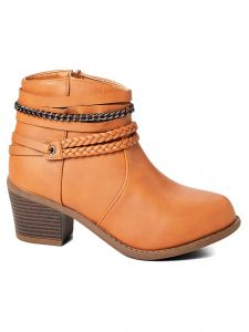 Ameta Women Tan Braid & Chain Ankle Bootie 55-10
