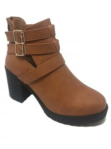 Ameta Women Tan Buckle-Strap Honey Bootie 55-10