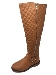 Ameta Women Tan Quilted Honey Boots 55-10