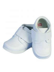 Angels Garment Boys White Strap Faux Leather Dress Shoes 2 Baby