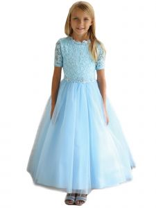 Angels Garment Little Girls Blue Beaded Tulle Lace Flower Girl Dress 3-6