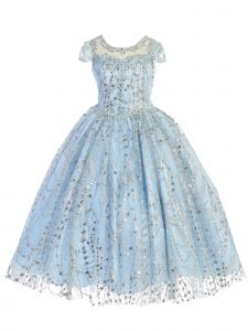 Angels Garment Little Girls Blue Rhinestone Sequins Beaded Pageant Dress 3-6
