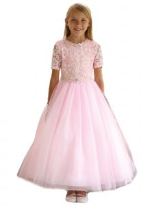 Angels Garment Big Girls Blush Beaded Tulle Lace Flower Girl Dress 7-16