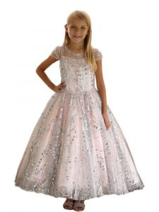Angels Garment Big Girls Blush Rhinestone Sequins Beaded Pageant Dress 7-12