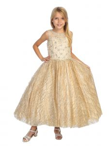 Angels Garment Big Girls Champagne Gold Appliques Tulle Pageant Dress 7-12