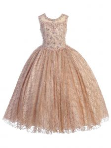 Angels Garment Big Girls Rose Gold Appliques Tulle Pageant Dress 7-12