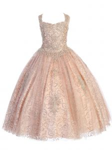 Angels Garment Big Girls Rose Gold Appliques Horsehair Edging Pageant Dress 7-12