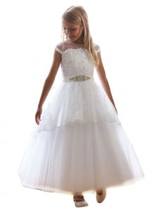 Angels Garment Big Girls White Beaded Applique Tulle Communion Dress 8