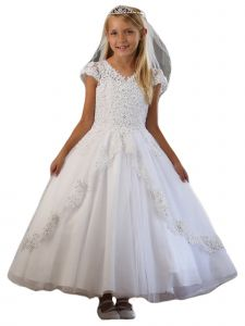 Angels Garment Big Girls White Embroidered Appliques Tulle Communion Dress 16
