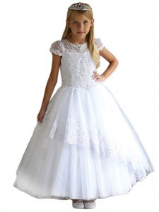 Angels Garment Girls White Embroidered Trim Full Tulle Communion Dress 6-16