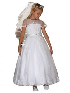 Angels Garment Girls White Embroidered Tulle Overlay Communion Dress 6-16