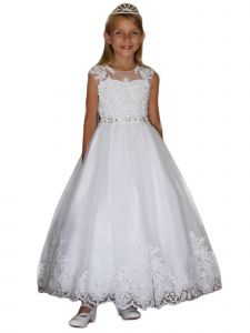 Angels Garment Girls White Satin Tulle Overlaid Communion Dress 6-16